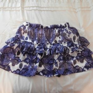 Express Purple White Floral Print Tiered Skirt C2